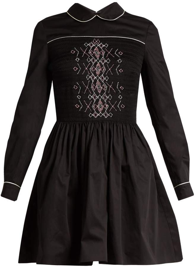 Miu Miu MIU MIU Smocked-front cotton mini dress