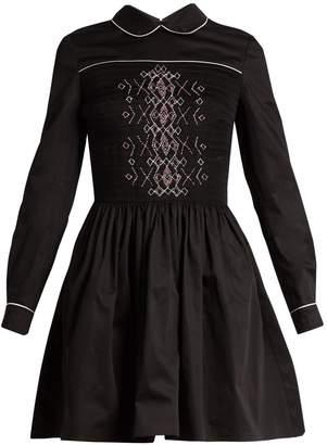 Miu Miu Smocked-front cotton mini dress