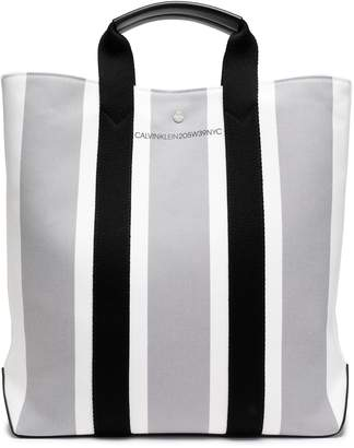 Calvin Klein (カルバン クライン) - Calvin Klein 205w39nyc レザートリム ストライプ キャンバス トートバッグ