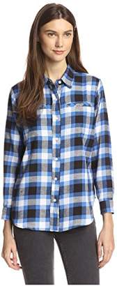 James & Erin Women's Flannel Plaid High-Low Shirt