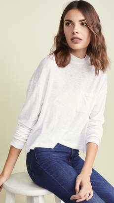 Three Dots Mock Neck Boxy Crop Tee