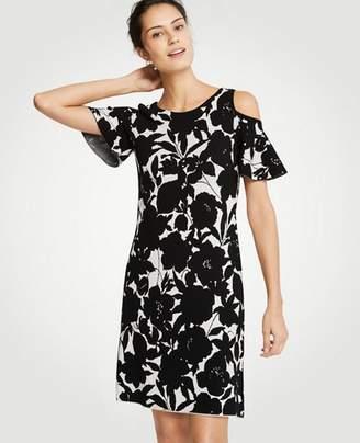 Ann Taylor Petite Floral Cold Shoulder Sweater Dress