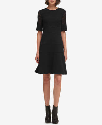 DKNY Elbow-Sleeve Fit & Flare Dress, Created for Macy's