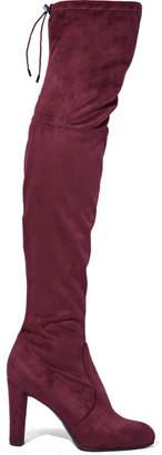 Sam Edelman - Kent Stretch-suede Over-the-knee Boots - Burgundy $190 thestylecure.com