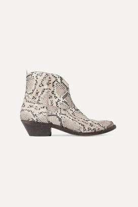 b030a4409f48 Golden Goose Young Distressed Snake-effect Leather Ankle Boots - Snake print