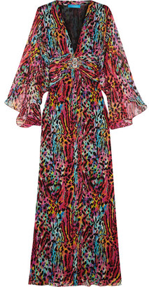 Matthew Williamson - Akita Embellished Printed Silk-chiffon Maxi Dress - Magenta