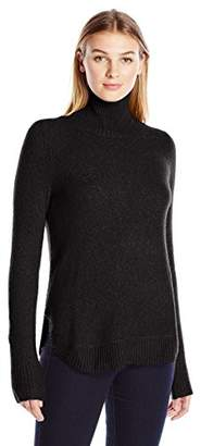 Lark & Ro Women's Rounded Hem Funnel Neck Sweater