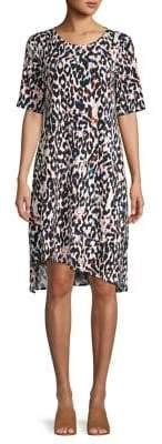 Context Leopard-Print Asymmetrical Shift Dress