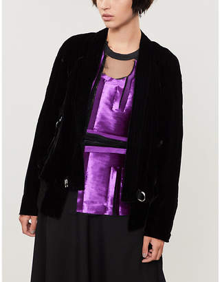 Song For The Mute Raw-edged velvet kimono jacket