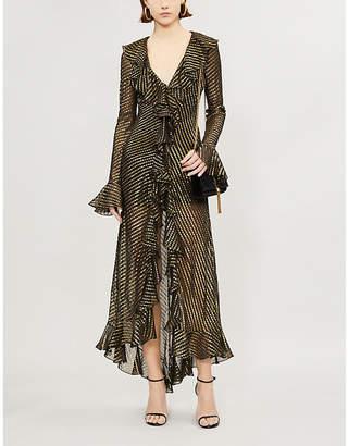DE LA VALI Tangerine metallic ruffle-trimmed silk-chiffon dress