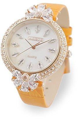 Abiste (アビステ) - [アビステ]ABISTE ラウンド型ビッグフェイスフラワークリスタル型押しベルト腕時計 9170024