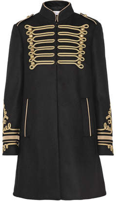 REDValentino - Embroidered Wool-blend Coat - Black $1,080 thestylecure.com