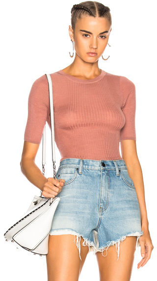 T by Alexander Wang Wash & Go Long Sleeve Rib Tee in Pink.