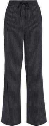 Joie Aryn Striped Washed-Silk Wide-Leg Pants