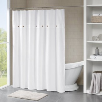 Home Essence Lucina Cotton Waffle Weave Textured Shower Curtain