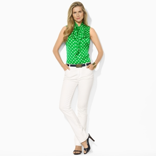 Ralph Lauren Sleeveless Polka-Dot Blouse