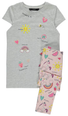 George Grey Doodle Dress and Leggings Outfit
