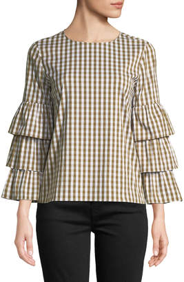 Lafayette 148 New York Mabel Gingham Poplin Tiered-Sleeve Blouse