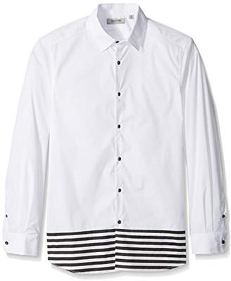 Kenneth Cole Reaction Men's Long Sleeve 1 Pocket Blocked Stripe