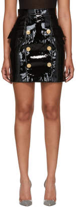 Balmain Black Patent Leather Button Skirt