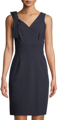 Tahari ASL Tilda Bow-Shoulder Sheath Dress