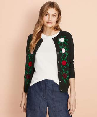 Brooks Brothers Floral-Embroidered Merino Wool Cardigan