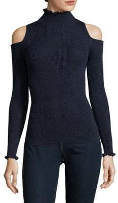 Rebecca Taylor Frilled Cold-Shoulder Wool Pullover