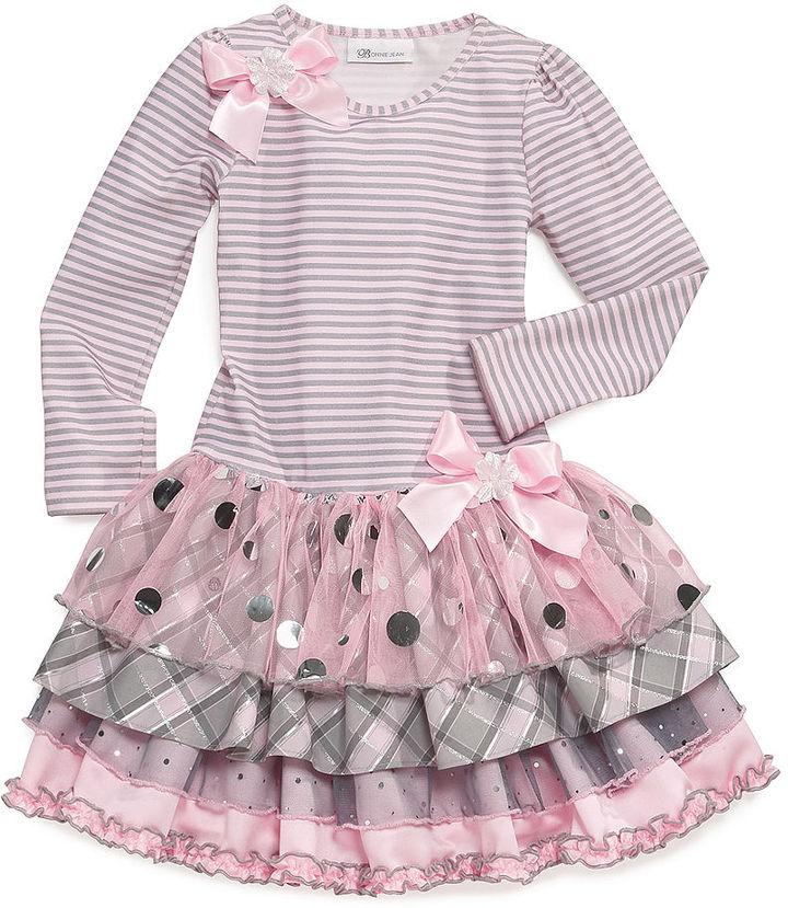 Bonnie Jean Little Girls' Striped Drop-Waist Dress