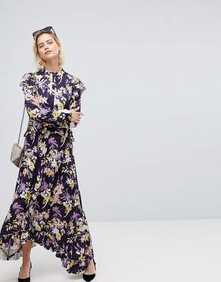 Warehouse Floral Print Frill Edge Maxi Dress