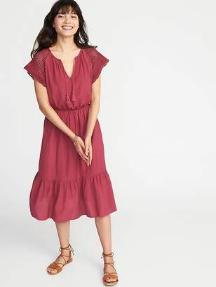 Old Navy Crochet-Sleeve Waist-Defined Midi Dress for Women