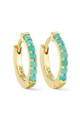 Jennifer Meyer Huggy 18 Karat Gold Turquoise Hoop Earrings One Size