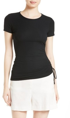 Women's Theory Jilaena T Side Ruched Ribbed Tee $150 thestylecure.com