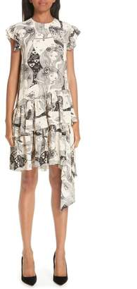 Alexander McQueen Eve Print Asymmetrical Silk Dress