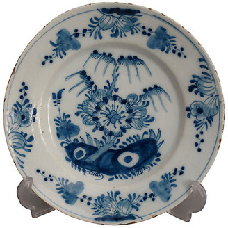 One Kings Lane Vintage 18th-C. Delft Chinoiserie Faience Plate - Faded Rose Antiques LLC