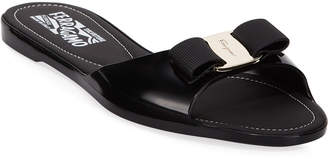 Salvatore Ferragamo Cirella Flat PVC Jelly Bow Slide Sandals Black