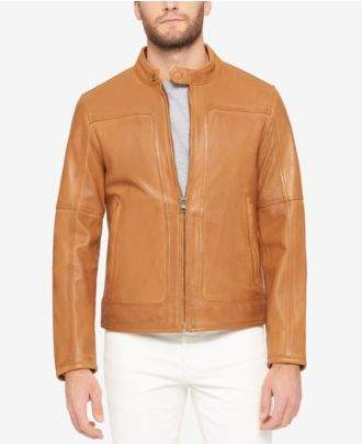 Andrew Marc Men's Snap-Collar Perforated Leather Moto Jacket