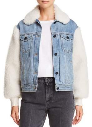 Rebecca Taylor Faux-Fur-Paneled Denim Jacket