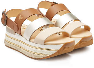 Hogan H432 Leather Platform Sandals