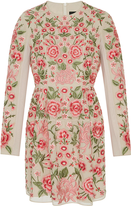 Needle & Thread Rose Beige Embroidered Mini Dress $700 thestylecure.com