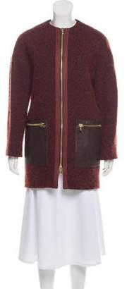 Etro Leather-Accented Crew Neck Coat