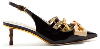 Gucci Unia Bow Embellished Patent Leather Pumps - Womens - Black