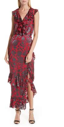 Saloni Anita Ruffle Trim Silk Burnout Dress