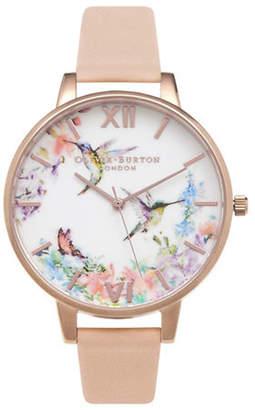 Olivia Burton Analog Hummingbird Goldtone Leather Strap Watch