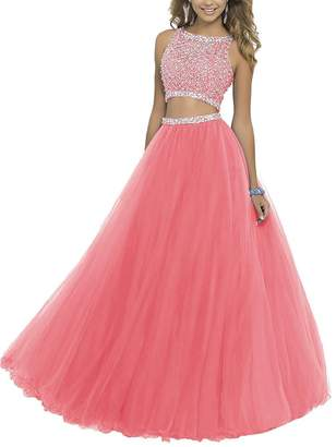 GRP Uryouthstyle Long Two Pieces Beaded Prom Gowns Bodice Evening Dress Cor US