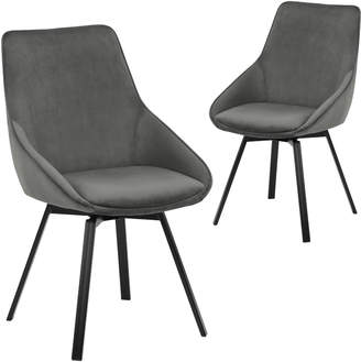 Webster Temple & Set of 2 Nappa Velvet Swivel Dining Chairs