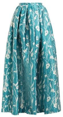Rochas High Rise Floral Satin Maxi Skirt - Womens - Blue Multi