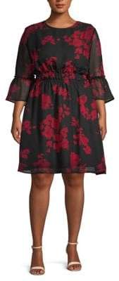 ABS by Allen Schwartz Plus Floral A-Line Dress