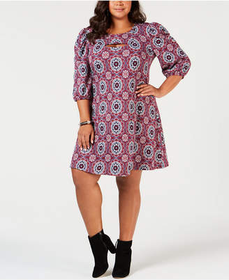 NY Collection Plus Size Printed Puff-Sleeve Dress