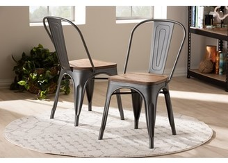 Baxton Studio Set of 2 Henri Vintage Rustic Industrial Style Tolix-Inspired Bamboo and Gun Metal-Finished Steel Stackable Dining Chair Set