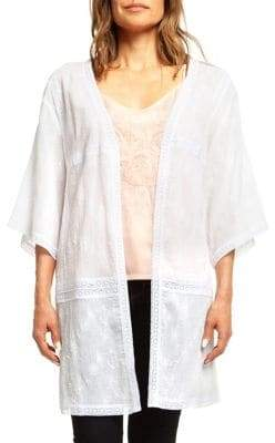 Dex Three-Quarter-Sleeve Embroidered Cardigan